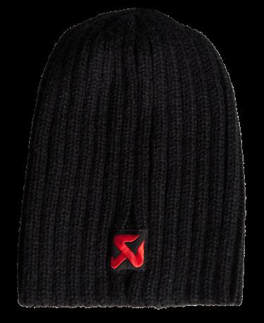 Akrapovic Knitcap Beanie Schwarz, Logo Rot