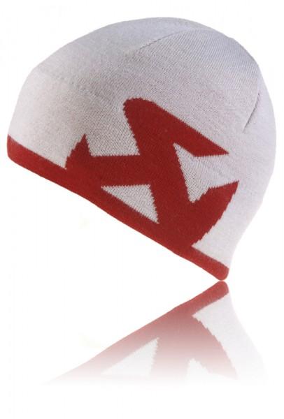 Akrapovic Knitcap Beanie Weiß, Logo Rot